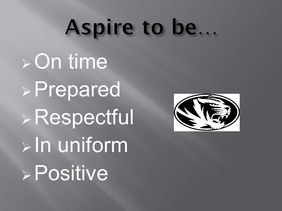 On time Prepared Respectful In uniform Positive