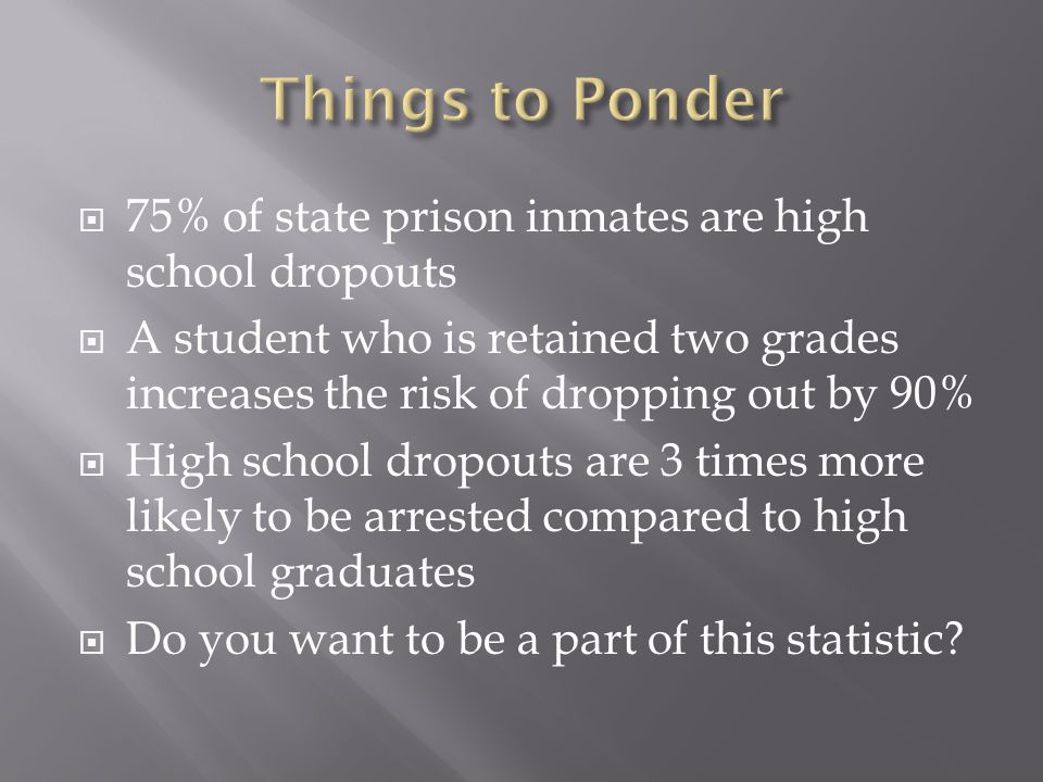 75% of state prison inmates are high school dropouts A student who is retained two grades increases the risk of dropping out by 90% High school dropouts are 3 times more likely to be arrested compared to high school graduates Do you want to be a part of this statistic