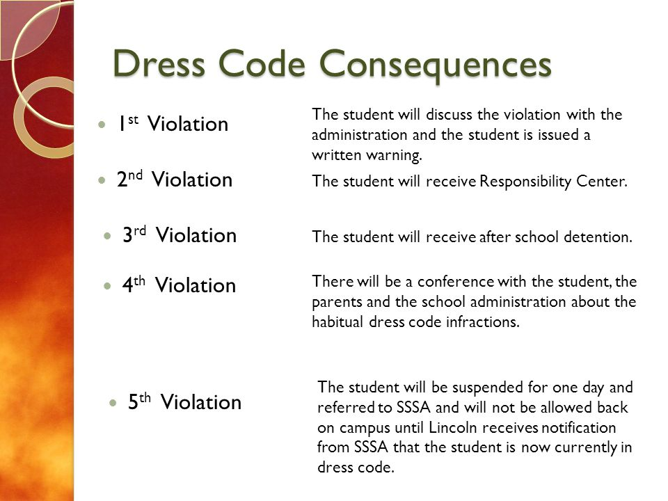 Dress Code Consequences 1 st Violation 2 nd Violation 3 rd Violation 4 th Violation The student will discuss the violation with the administration and the student is issued a written warning.