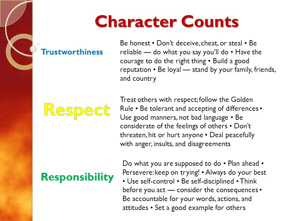 Character Counts Trustworthiness Responsibility Treat others with respect; follow the Golden Rule Be tolerant and accepting of differences Use good manners, not bad language Be considerate of the feelings of others Dont threaten, hit or hurt anyone Deal peacefully with anger, insults, and disagreements Be honest Dont deceive, cheat, or steal Be reliable do what you say youll do Have the courage to do the right thing Build a good reputation Be loyal stand by your family, friends, and country Do what you are supposed to do Plan ahead Persevere: keep on trying.