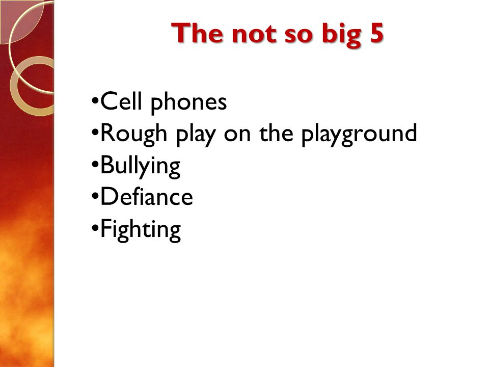 The not so big 5 Cell phones Rough play on the playground Bullying Defiance Fighting