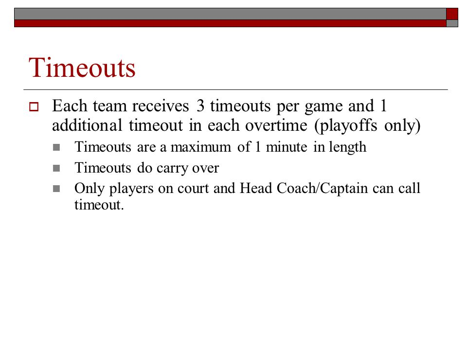 Timeouts Each team receives 3 timeouts per game and 1 additional timeout in each overtime (playoffs only) Timeouts are a maximum of 1 minute in length Timeouts do carry over Only players on court and Head Coach/Captain can call timeout.
