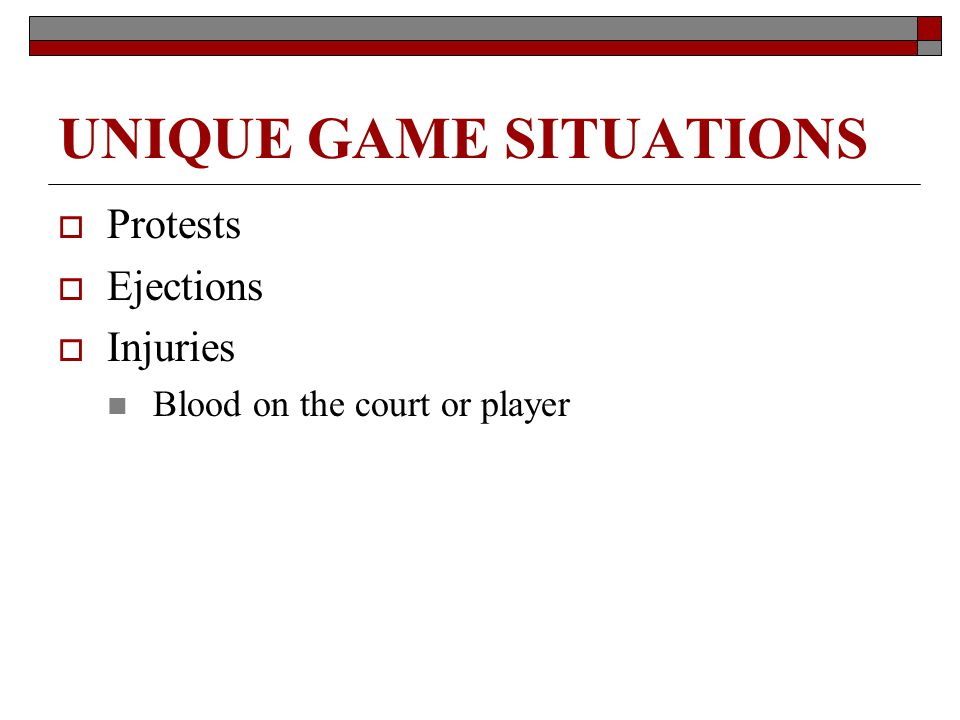 UNIQUE GAME SITUATIONS Protests Ejections Injuries Blood on the court or player