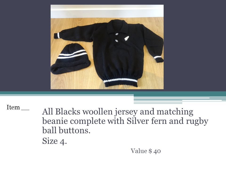 All Blacks woollen jersey and matching beanie complete with Silver fern and rugby ball buttons.