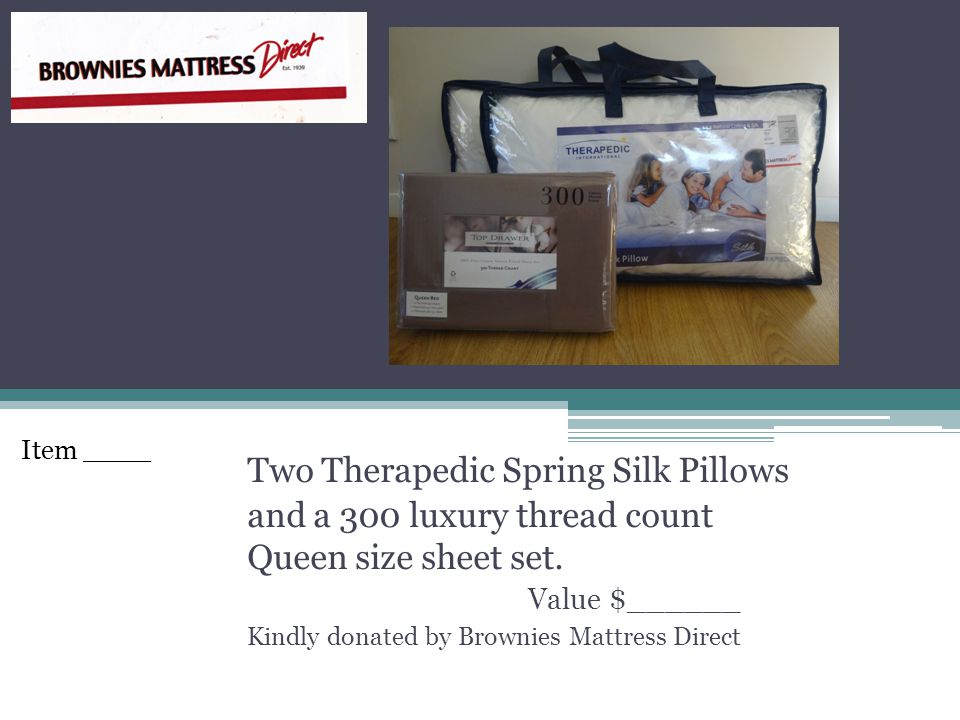 Two Therapedic Spring Silk Pillows and a 300 luxury thread count Queen size sheet set.