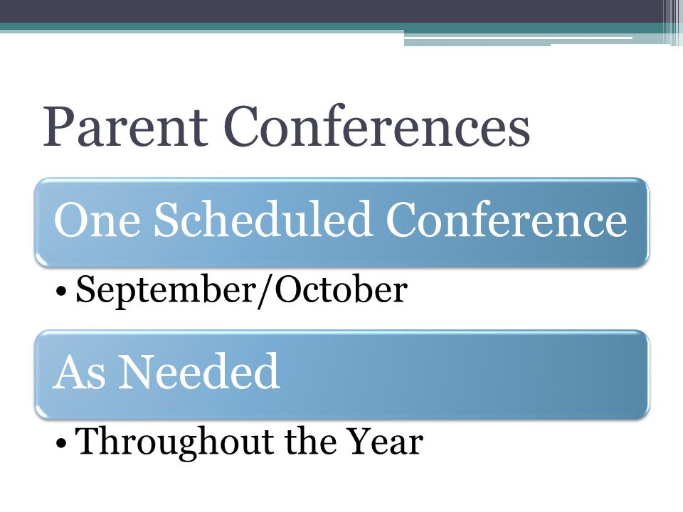 Parent Conferences One Scheduled Conference September/October As Needed Throughout the Year