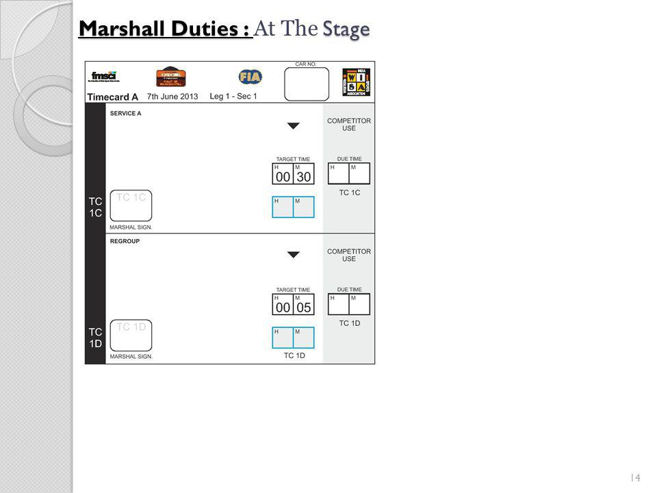 14 Marshall Duties : Stage Marshall Duties : At The Stage