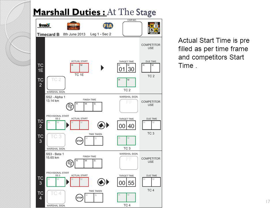 17 Marshall Duties : Stage Marshall Duties : At The Stage Actual Start Time is pre filled as per time frame and competitors Start Time.
