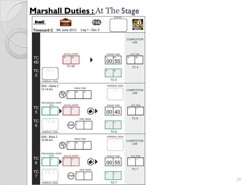 24 Marshall Duties : Stage Marshall Duties : At The Stage