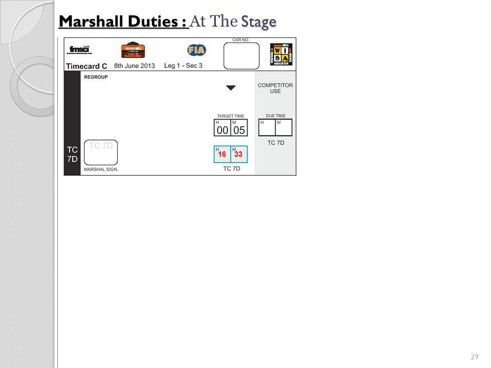 29 Marshall Duties : Stage Marshall Duties : At The Stage 16 33