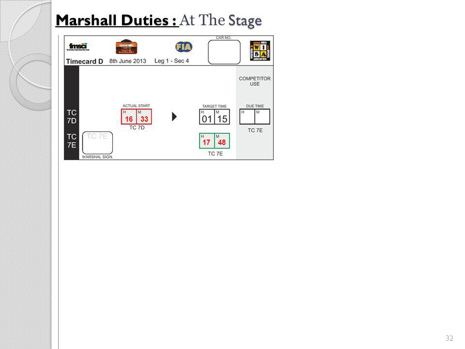 32 Marshall Duties : Stage Marshall Duties : At The Stage 16 33 17 48