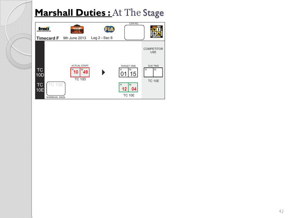 42 Marshall Duties : Stage Marshall Duties : At The Stage 12 04 10 49