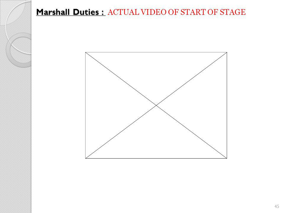 45 Marshall Duties : Marshall Duties : ACTUAL VIDEO OF START OF STAGE