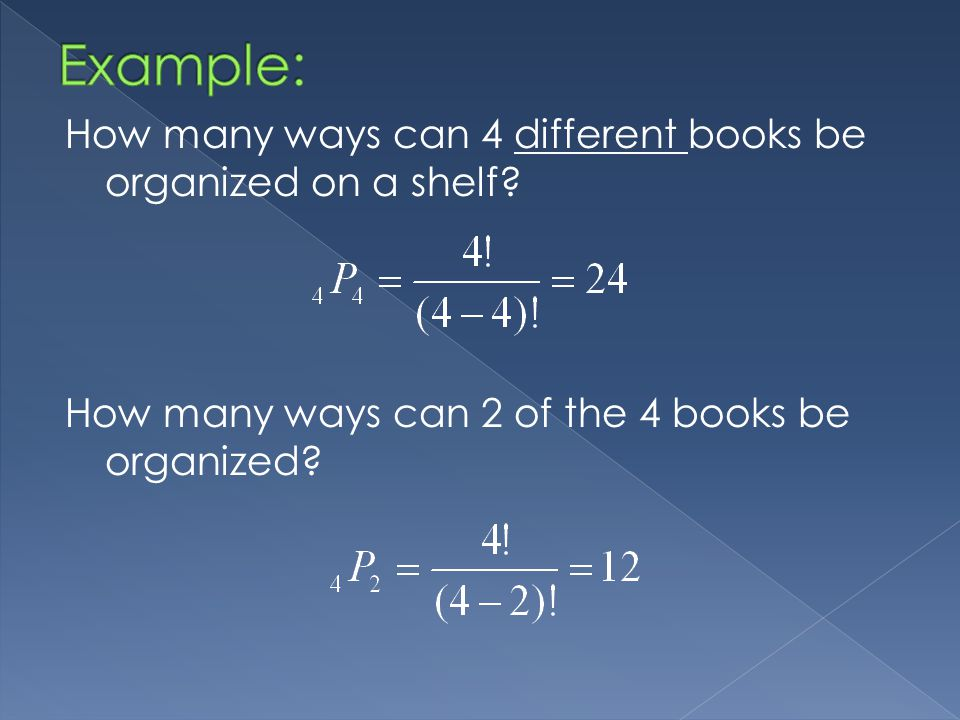 How many ways can 4 different books be organized on a shelf.