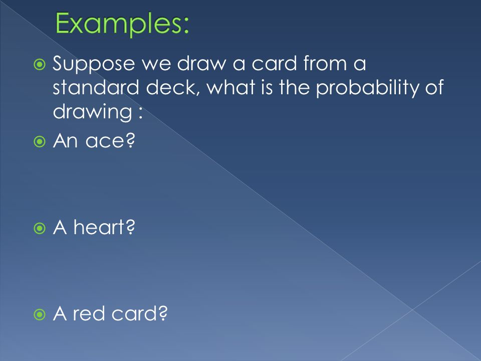 Suppose we draw a card from a standard deck, what is the probability of drawing : An ace.