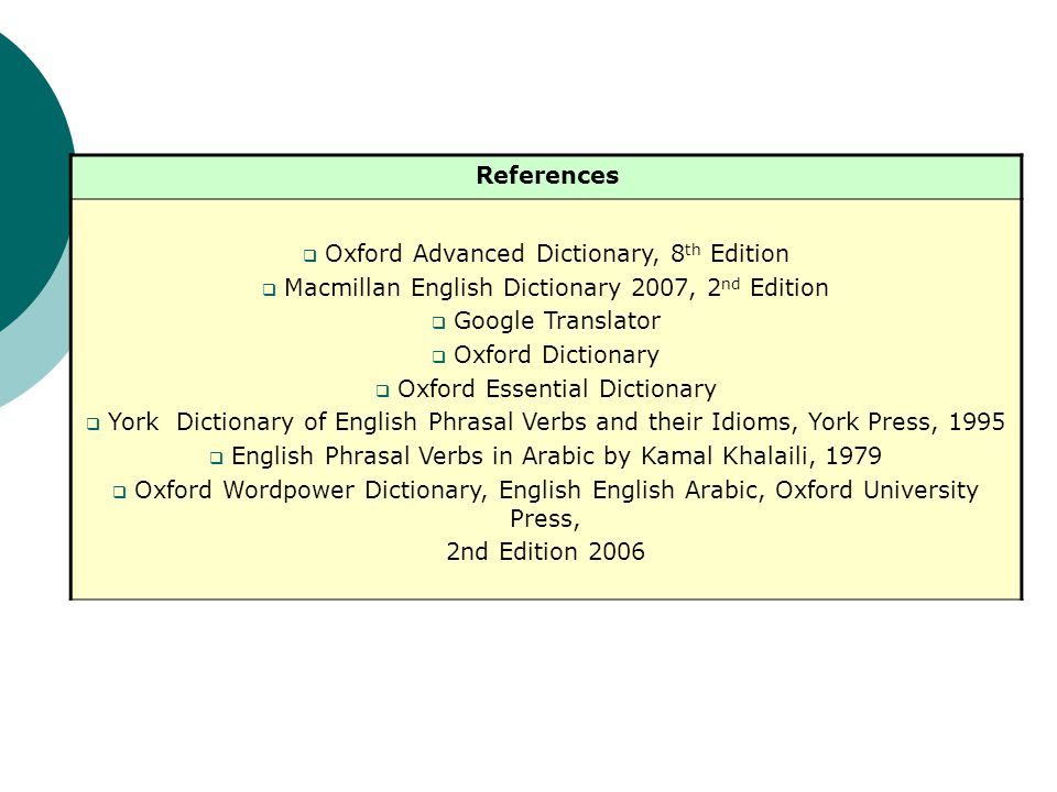References Oxford Advanced Dictionary, 8 th Edition Macmillan English Dictionary 2007, 2 nd Edition Google Translator Oxford Dictionary Oxford Essential Dictionary York Dictionary of English Phrasal Verbs and their Idioms, York Press, 1995 English Phrasal Verbs in Arabic by Kamal Khalaili, 1979 Oxford Wordpower Dictionary, English English Arabic, Oxford University Press, 2nd Edition 2006