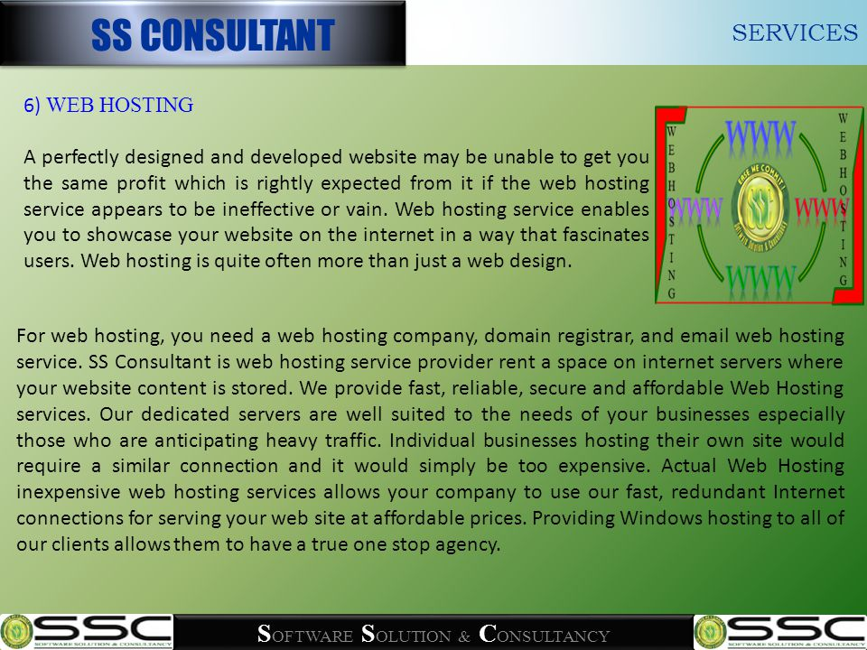 S OFTWARE S OLUTION & C ONSULTANCY For web hosting, you need a web hosting company, domain registrar, and email web hosting service.