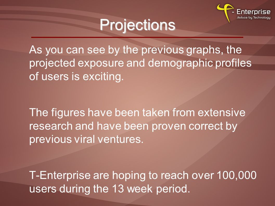 Projections As you can see by the previous graphs, the projected exposure and demographic profiles of users is exciting.