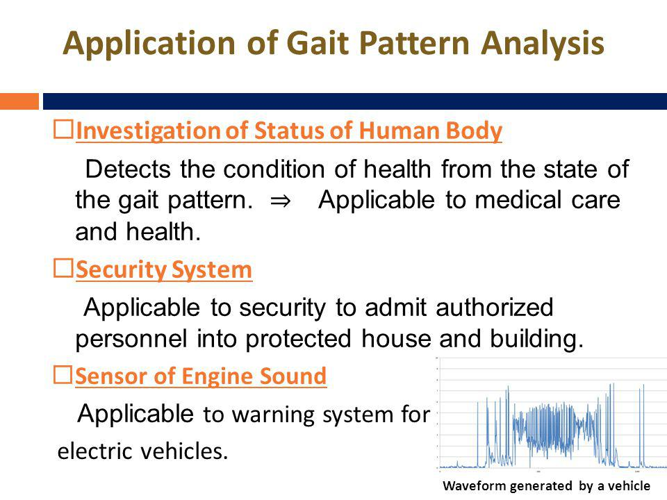 Application of Gait Pattern Analysis Investigation of Status of Human Body Detects the condition of health from the state of the gait pattern.