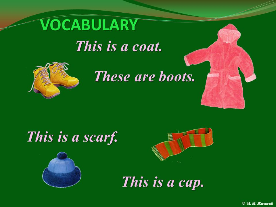 VOCABULARY This is a suet. This is a jacket. These are shoes.