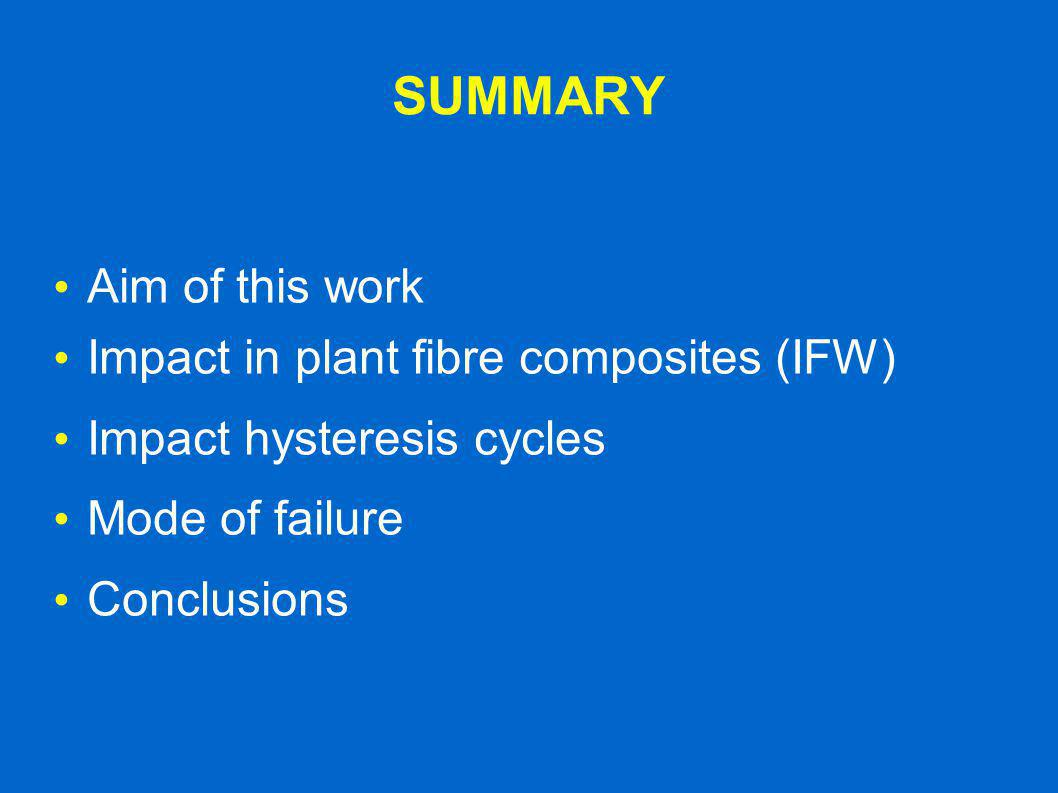 SUMMARY Aim of this work Impact in plant fibre composites (IFW) Impact hysteresis cycles Mode of failure Conclusions