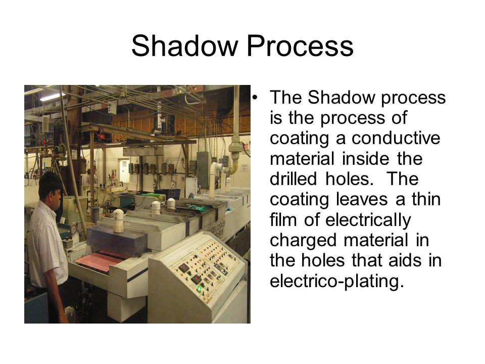 Shadow Process The Shadow process is the process of coating a conductive material inside the drilled holes.