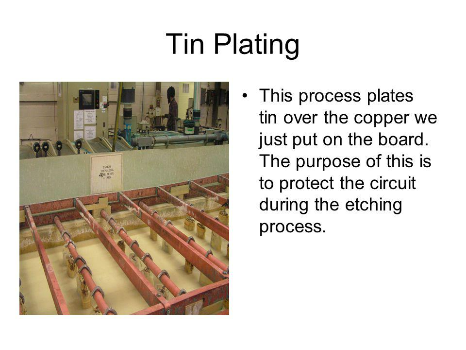 Tin Plating This process plates tin over the copper we just put on the board.