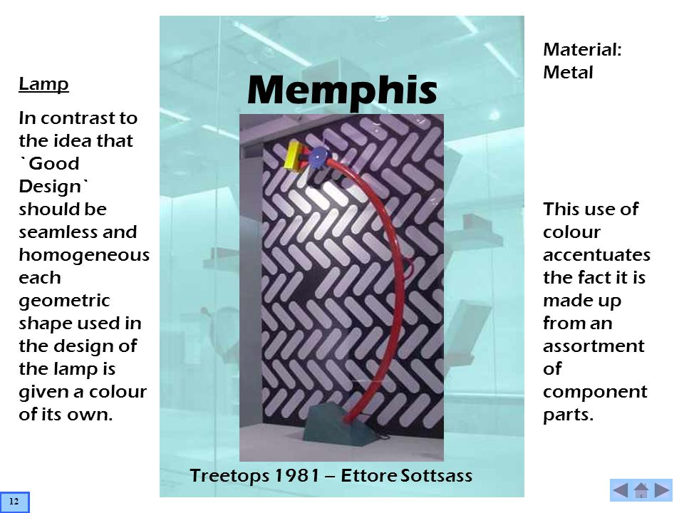 Memphis Lamp In contrast to the idea that `Good Design` should be seamless and homogeneous each geometric shape used in the design of the lamp is given a colour of its own.