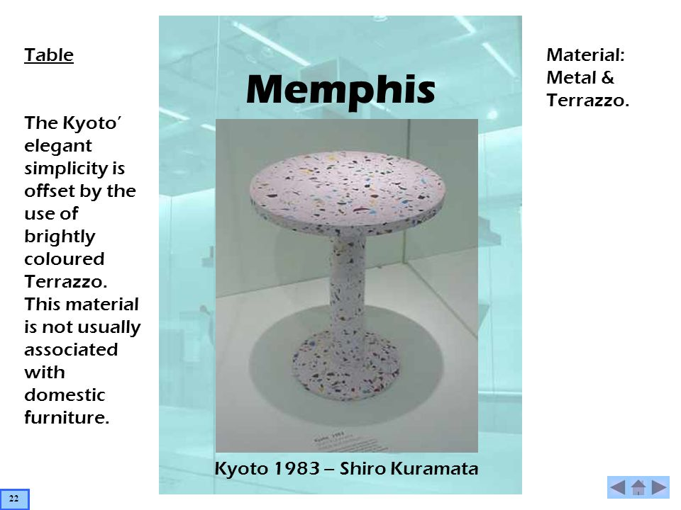 Memphis Kyoto 1983 – Shiro Kuramata Table The Kyoto elegant simplicity is offset by the use of brightly coloured Terrazzo.