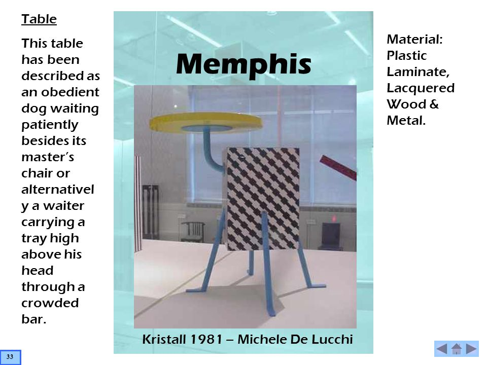 Memphis Kristall 1981 – Michele De Lucchi Table This table has been described as an obedient dog waiting patiently besides its masters chair or alternativel y a waiter carrying a tray high above his head through a crowded bar.