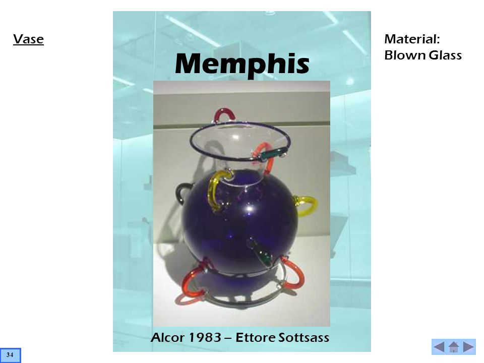 Memphis Alcor 1983 – Ettore Sottsass VaseMaterial: Blown Glass 34