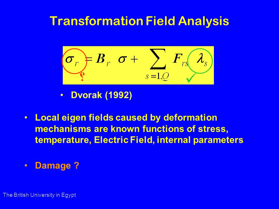 Transformation Field Analysis Local eigen fields caused by deformation mechanisms are known functions of stress, temperature, Electric Field, internal parameters ؟ Damage .