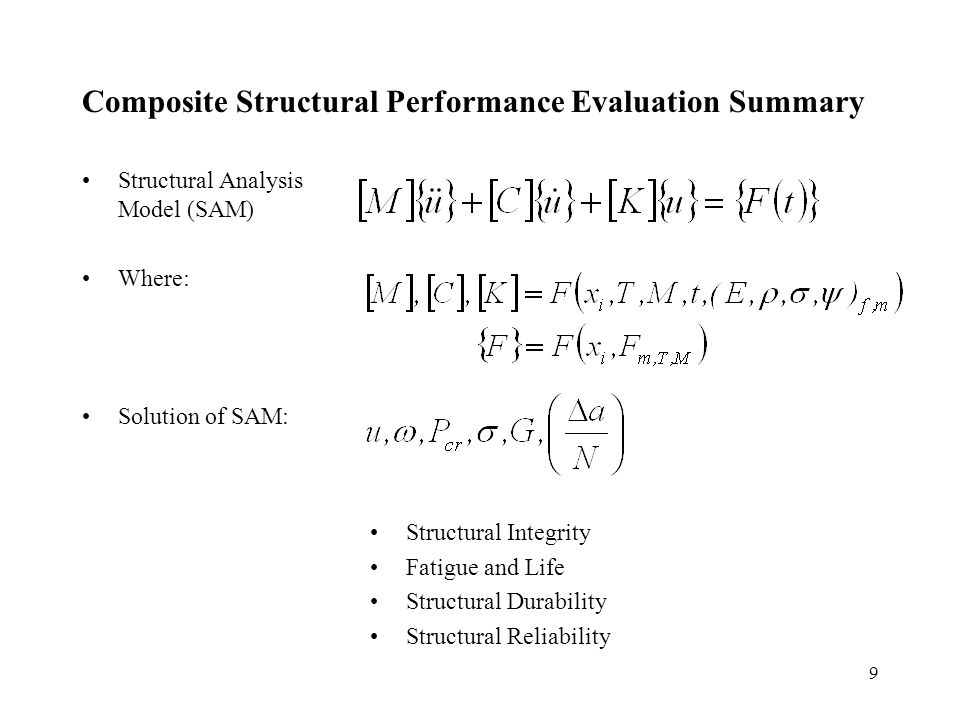 9 Composite Structural Performance Evaluation Summary Structural Analysis Model (SAM) Where: Solution of SAM: Structural Integrity Fatigue and Life Structural Durability Structural Reliability