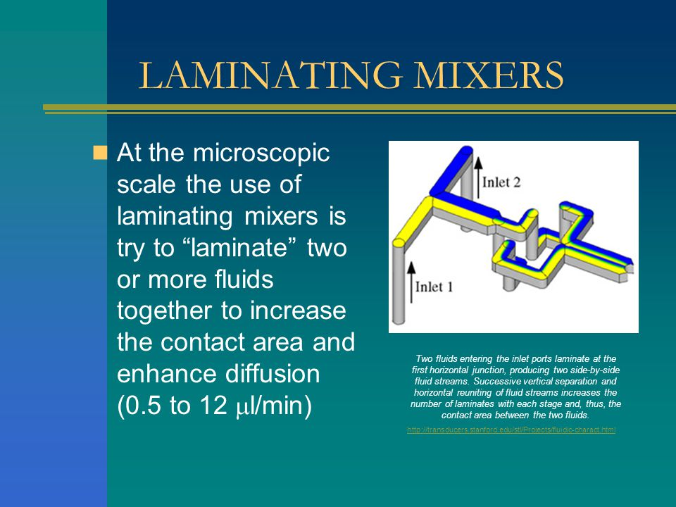 LAMINATING MIXERS At the microscopic scale the use of laminating mixers is try to laminate two or more fluids together to increase the contact area and enhance diffusion (0.5 to 12 l/min) Two fluids entering the inlet ports laminate at the first horizontal junction, producing two side-by-side fluid streams.