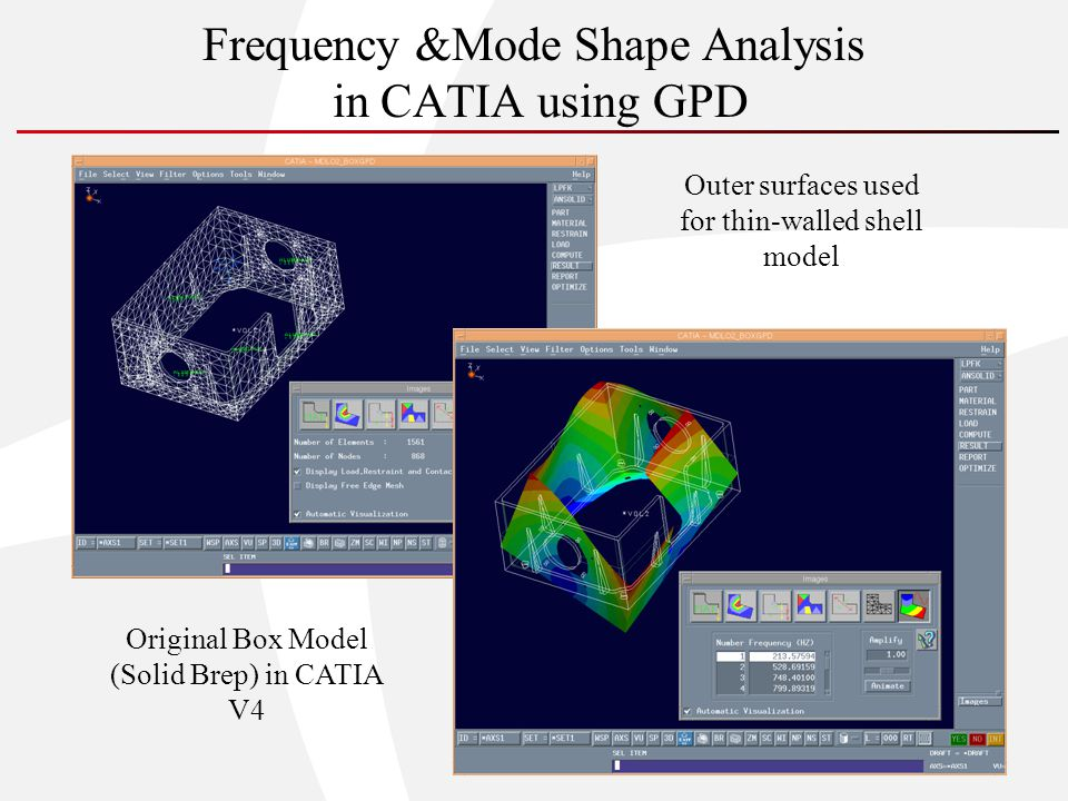 Frequency &Mode Shape Analysis in CATIA using GPD Outer surfaces used for thin-walled shell model Original Box Model (Solid Brep) in CATIA V4