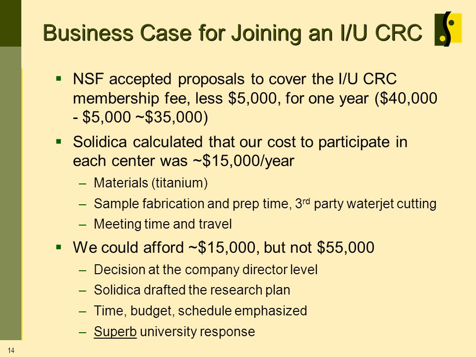 Business Case for Joining an I/U CRC NSF accepted proposals to cover the I/U CRC membership fee, less $5,000, for one year ($40,000 - $5,000 ~$35,000) Solidica calculated that our cost to participate in each center was ~$15,000/year –Materials (titanium) –Sample fabrication and prep time, 3 rd party waterjet cutting –Meeting time and travel We could afford ~$15,000, but not $55,000 –Decision at the company director level –Solidica drafted the research plan –Time, budget, schedule emphasized –Superb university response 14