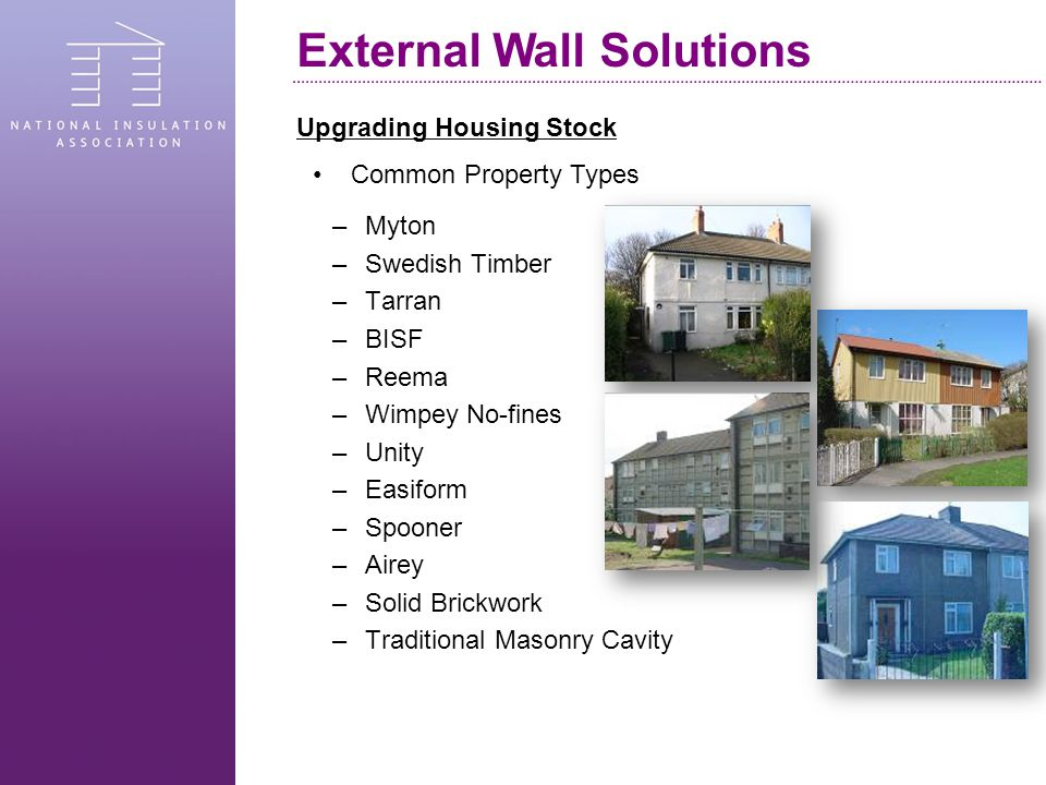 Upgrading Housing Stock –Myton –Swedish Timber –Tarran –BISF –Reema –Wimpey No-fines –Unity –Easiform –Spooner –Airey –Solid Brickwork –Traditional Masonry Cavity Common Property Types External Wall Solutions