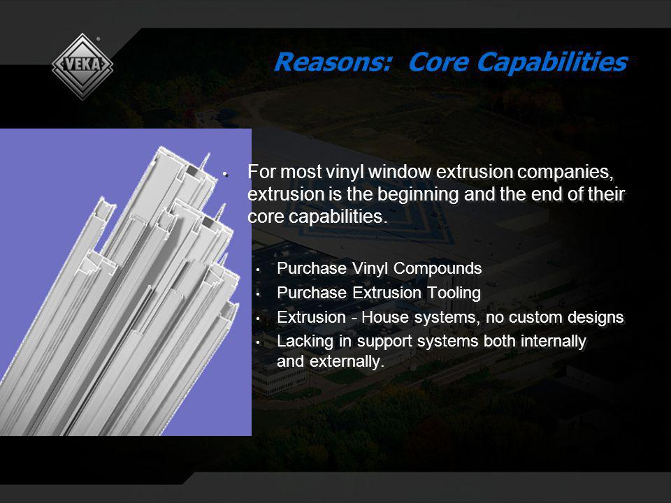 Reasons: Core Capabilities For most vinyl window extrusion companies, extrusion is the beginning and the end of their core capabilities.