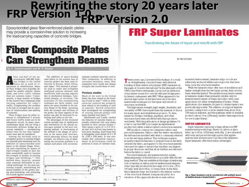 17 FRP Version 1.0 … Rewriting the story 20 years later FRP Version 2.0