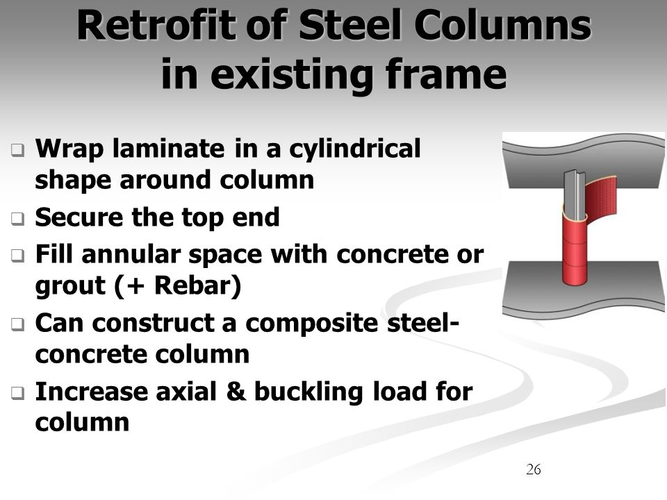 Retrofit of Steel Columns in existing frame Wrap laminate in a cylindrical shape around column Secure the top end Fill annular space with concrete or grout (+ Rebar) Can construct a composite steel- concrete column Increase axial & buckling load for column 26