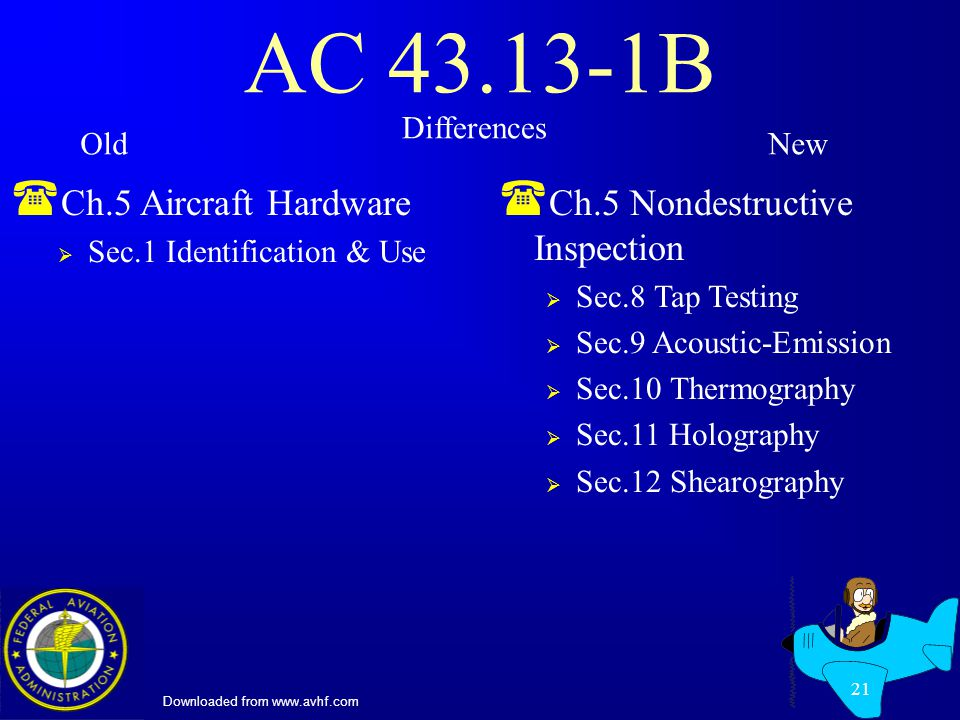 Downloaded from www.avhf.com 21 AC 43.13-1B ( Ch.5 Aircraft Hardware Sec.1 Identification & Use ( Ch.5 Nondestructive Inspection Sec.8 Tap Testing Sec.9 Acoustic-Emission Sec.10 Thermography Sec.11 Holography Sec.12 Shearography Differences OldNew