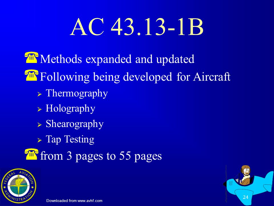Downloaded from www.avhf.com 24 AC 43.13-1B ( Methods expanded and updated ( Following being developed for Aircraft Thermography Holography Shearography Tap Testing ( from 3 pages to 55 pages