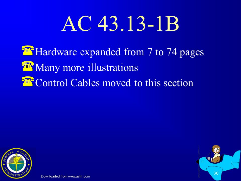 Downloaded from www.avhf.com 30 AC 43.13-1B ( Hardware expanded from 7 to 74 pages ( Many more illustrations ( Control Cables moved to this section