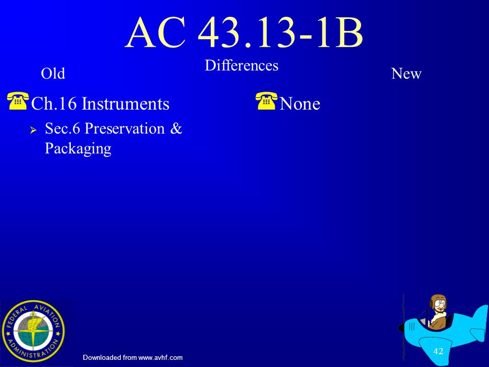 Downloaded from www.avhf.com 42 AC 43.13-1B ( Ch.16 Instruments Sec.6 Preservation & Packaging ( None Differences OldNew
