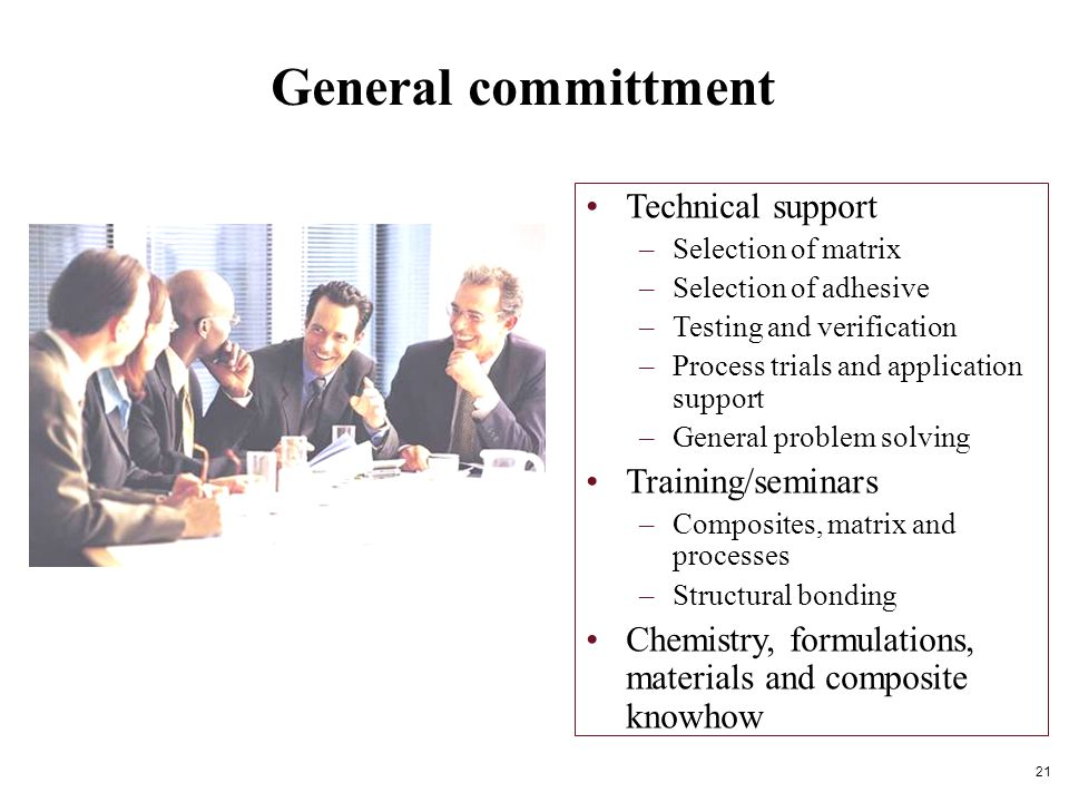 General committment Technical support –Selection of matrix –Selection of adhesive –Testing and verification –Process trials and application support –General problem solving Training/seminars –Composites, matrix and processes –Structural bonding Chemistry, formulations, materials and composite knowhow 21