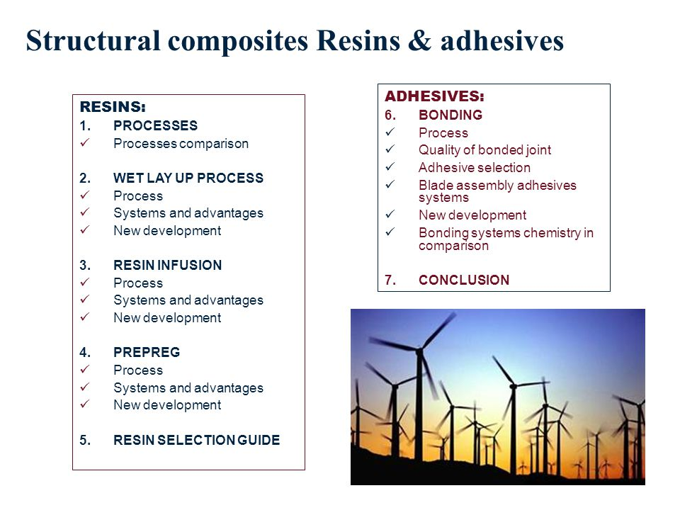 RESINS: 1.PROCESSES Processes comparison 2.WET LAY UP PROCESS Process Systems and advantages New development 3.RESIN INFUSION Process Systems and advantages New development 4.PREPREG Process Systems and advantages New development 5.