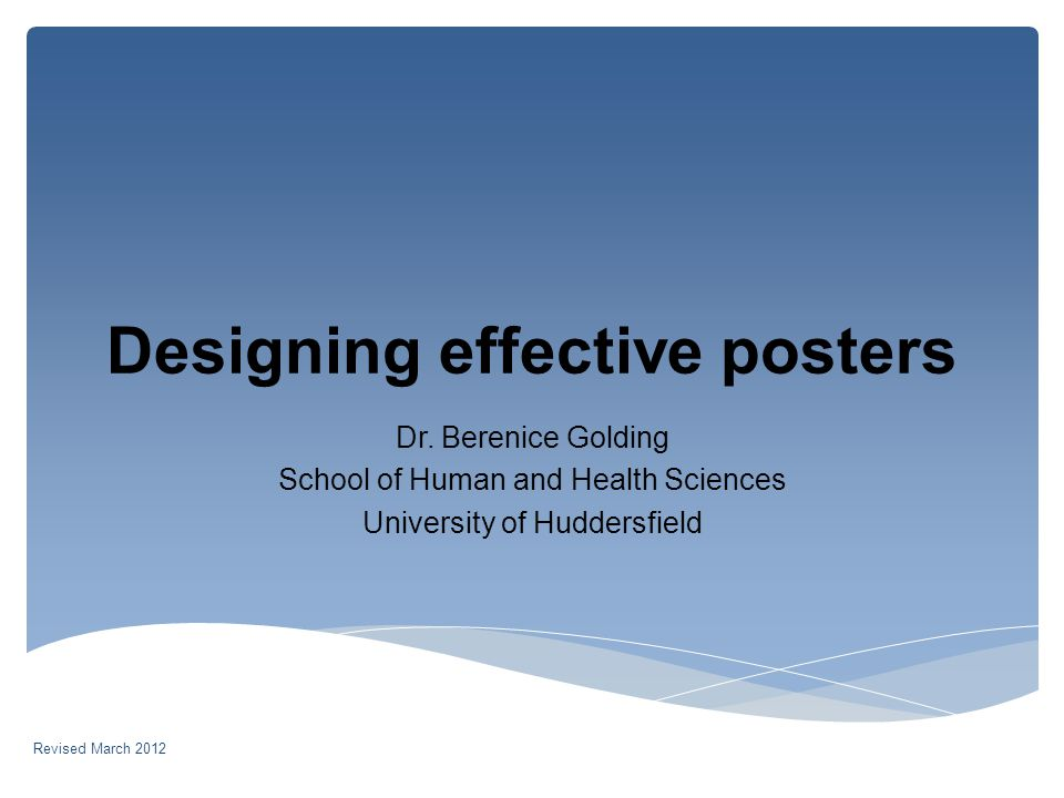 Designing effective posters Dr.