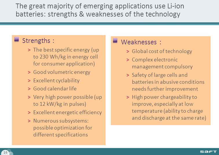 16 The great majority of emerging applications use Li-ion batteries: strengths & weaknesses of the technology Strengths : >The best specific energy (up to 230 Wh/kg in energy cell for consumer application) >Good volumetric energy >Excellent cyclability >Good calendar life >Very high power possible (up to 12 kW/kg in pulses) >Excellent energetic efficiency >Numerous subsystems: possible optimization for different specifications Weaknesses : >Global cost of technology >Complex electronic management compulsory >Safety of large cells and batteries in abusive conditions needs further improvement >High power chargeability to improve, especially at low temperature (ability to charge and discharge at the same rate)