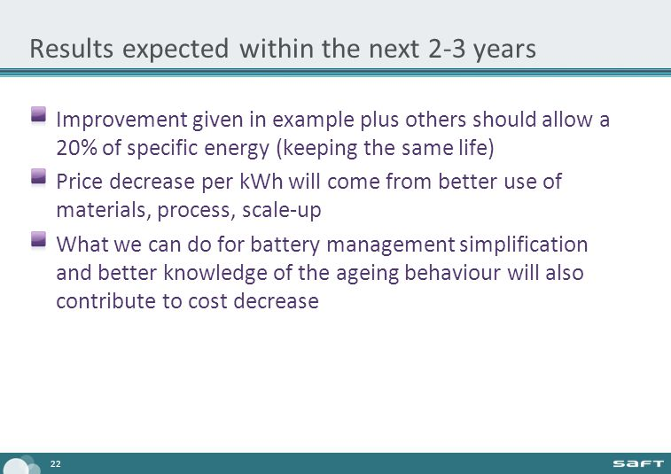 Results expected within the next 2-3 years Improvement given in example plus others should allow a 20% of specific energy (keeping the same life) Price decrease per kWh will come from better use of materials, process, scale-up What we can do for battery management simplification and better knowledge of the ageing behaviour will also contribute to cost decrease 22