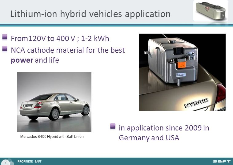 PROPRIETE SAFT 7 Lithium-ion hybrid vehicles application From120V to 400 V ; 1-2 kWh NCA cathode material for the best power and life in application since 2009 in Germany and USA Mercedes S400 Hybrid with Saft Li-ion
